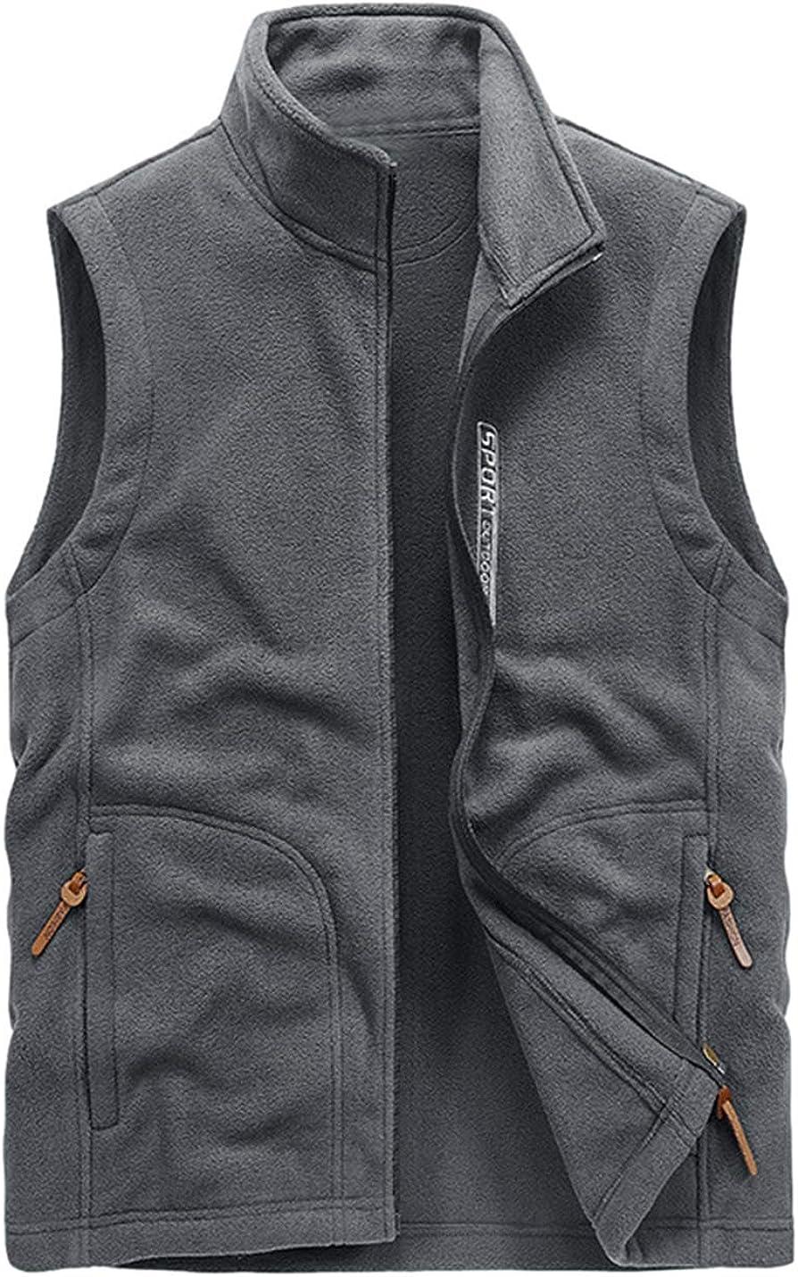 Omoone Men's Classic Full Zip Fleece Vest Fuzzy Waistcoat with Zipper Pockets