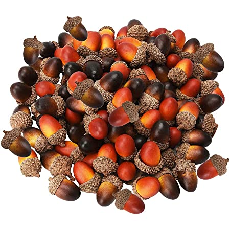Hicarer 50 Piece Artificial Acorns Autumn Acorns Ornaments Table Scatter for Fall Thanksgiving Christmas Party Decor