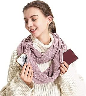 Infinity Scarf With 2 Hidden Zipper Pockets-Secret Travel Scarfs for Women Men