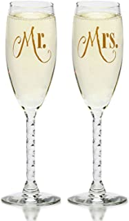 Mr. & Mrs. Gold Champagne Flutes With Gift Box - Wedding Glasses For Bride & Groom - Toasting Gift Sets - For Couples - Engagement, Wedding, Anniversary