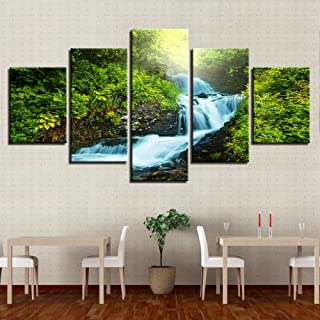 MZWLH Kits Canvas Paintings Wall Art Prints 5 Pieces Forest Brook Torrent Pictures Waterfall Natural Landscape Posters Home Decor