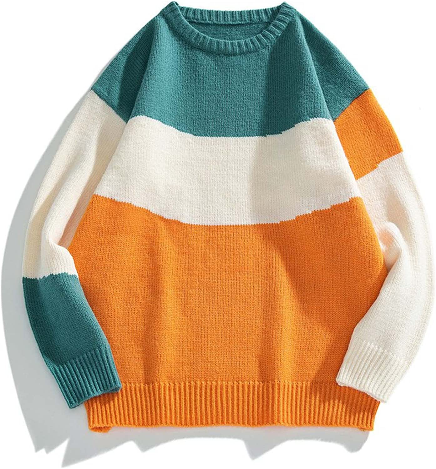 Huangse Men's Autumn Winter Vintage Striped Sweater Color Block Knit Pullover Round Neck Knitted Sweaters