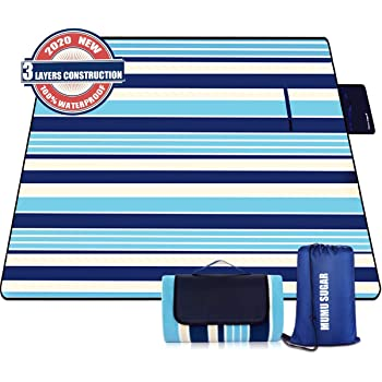 """Mumu Sugar Outdoor Picnic Blanket, 3-Layer Extra Large (80""""x80"""") Waterproof Foldable Picnic Mat - Beach Blanket Sand Proof for Camping,Park,Beach,Hiking, Family Concerts"""