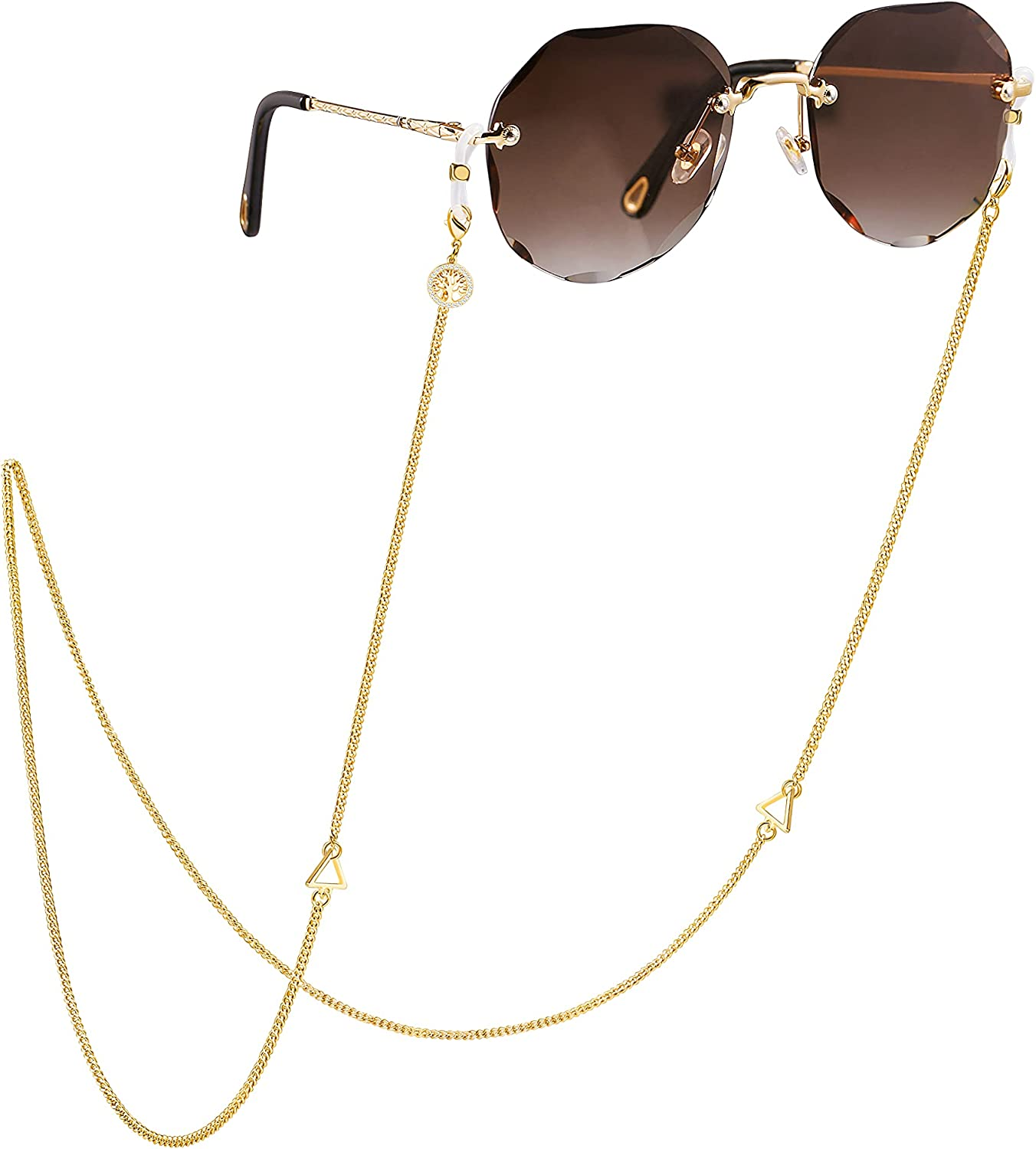 18K Gold Plated Glasses Chain Finally resale Some reservation start Pearl Tiger Turquoise Eye S Beaded