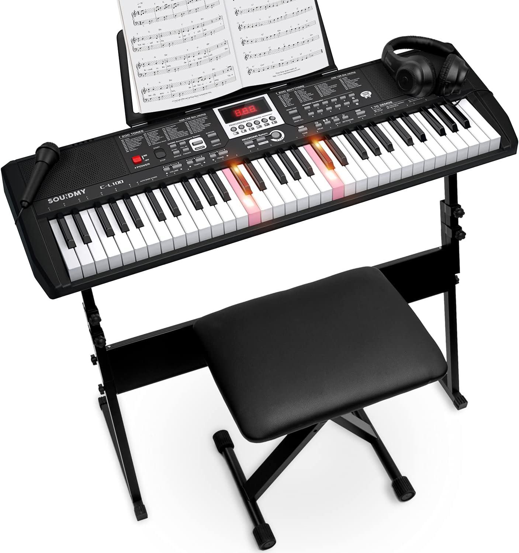 SOUIDMY C-L100 Music Keyboard Max 61% OFF Piano for Key New York Mall 61 Keyboa Beginners