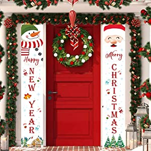 Christmas Porch Sign Decorations Banners - Xmas Front Door Banner, Snowman, Santa Claus, Christmas Hanging Signs for Indoor Outdoor Home Wall Door Winter Holiday Kids Party Welcome Decor 12 x 72 Inch