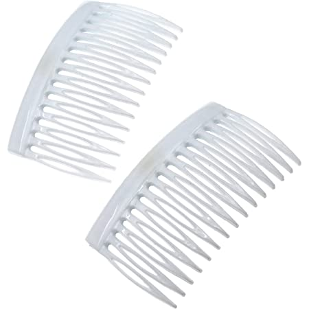 Camila Paris CP3111 French Hair Side Comb, 2 Pack Curved White Flexible Durable Hair Combs, Strong Hold Hair Clips for Women, No Slip Styling Girls Hair Accessories Made in France
