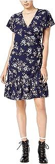 Maison Jules Women's Ruffled Faux-Wrap Dress Blue Notte XXS