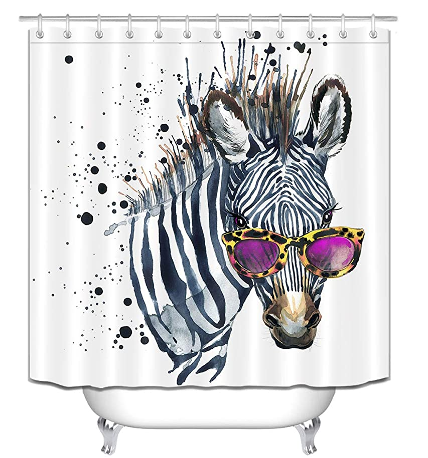 LB Cool Zebra in Sunglasses Shower Curtain for Bathroom, Funny Kids Animal Print Fabric Shower Curtain for Bathtub Shower Stall, Waterproof Decorative Curtain, 70 W x 78 L Extra Long