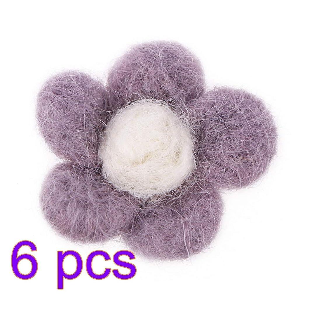 共役六分儀側溝Healifty 6ピースウールフェルト花DIYフェルト花生地花の装飾のためのdiy工芸縫製ヘッドバンド赤ちゃんの女の子髪の花(バイオレット)