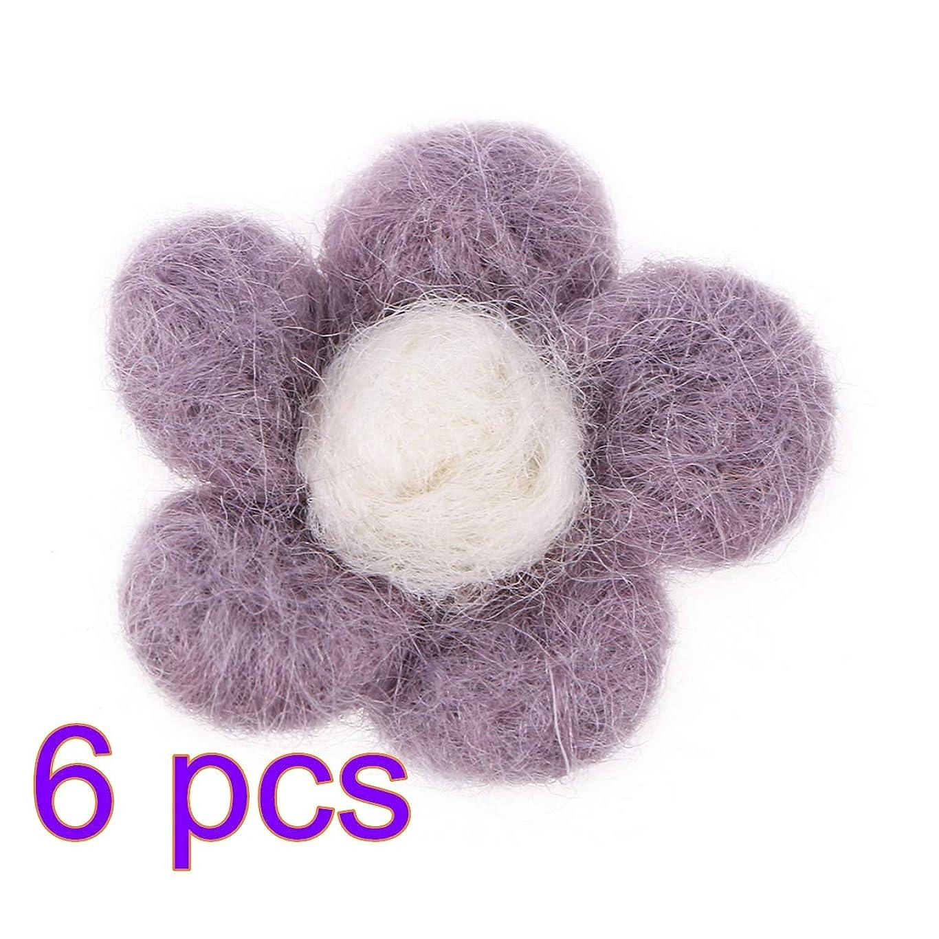 Healifty 6ピースウールフェルト花DIYフェルト花生地花の装飾のためのdiy工芸縫製ヘッドバンド赤ちゃんの女の子髪の花(バイオレット)