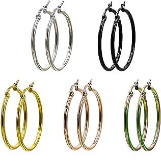 Jaykay 5 Pairs Stainless Steel Endless Hoop Earrings Set for Woman