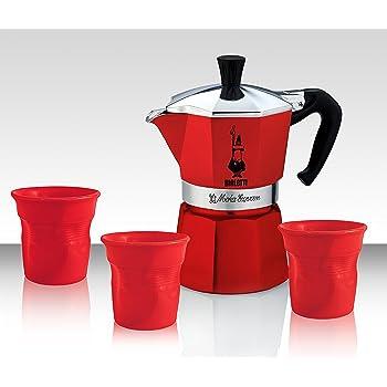 Bialetti Set Moka Rojo – Express con 3 Tazas con 3 Rojas bechern – Limited Edition: Amazon.es: Hogar