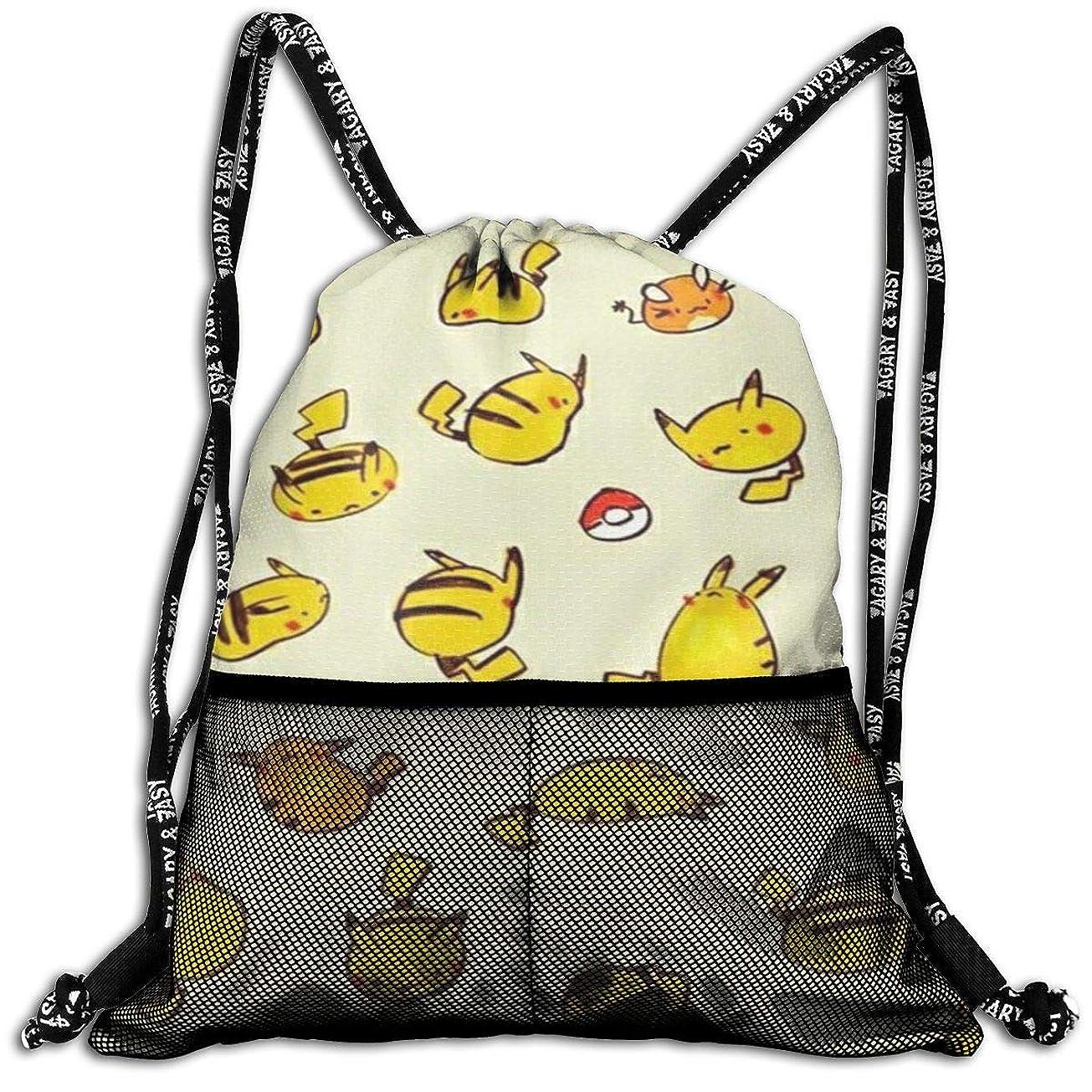 呼吸構造的同志Pokemon ピカチュウ ジムサック?ナップサック スポーツバックスポーツ用バッグ バックパック 超軽量 運動/旅行/部活用 男女兼用 収納 折りたたみ 子供