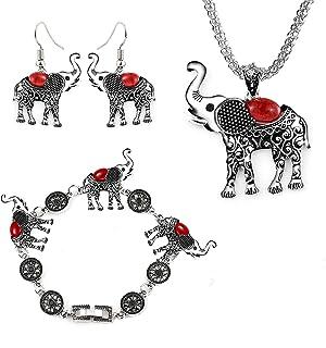 Miraculous Garden Womens Vintage Silver Ethnic Tribal Elephant Boho Pendant Necklace Drop Earrings Link Bracelet Jewelry Sets
