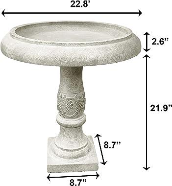 Kante RC01098A-C80091 Lightweight Traditional Flower Pattern Birdbath, Weathered Concrete