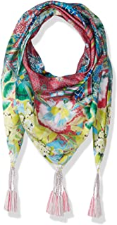 Women's Patterned Silk Square Scarf with Tassels