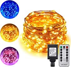 ErChen Dual-Color LED String Lights, 66 FT 200 LEDs Plug in Copper Wire Color Changing 8 Modes Dimmable Fairy Lights with ...