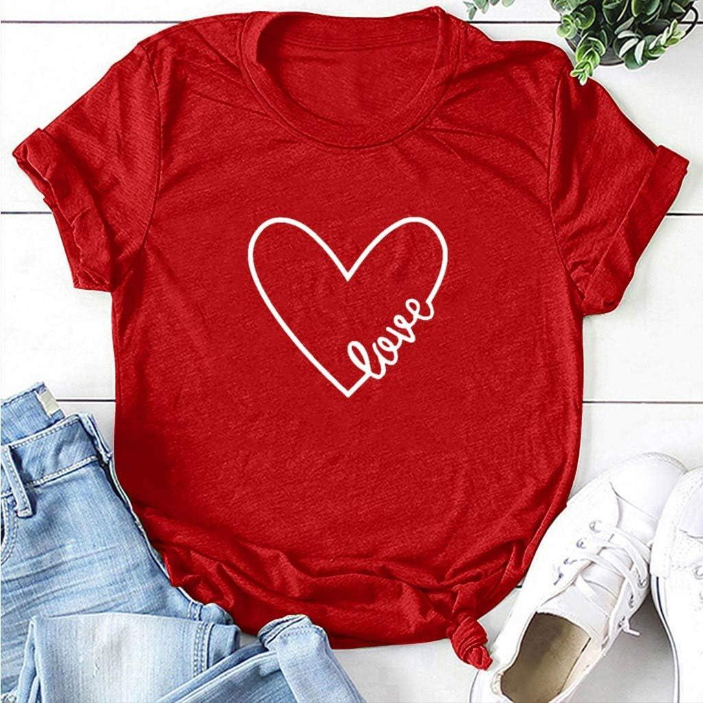 iYmitz Damen Mode Lose Oansatz Spitze Rundausschnitt Art- und Weise Frauen Kurzarm Herz T-Shirts Drucken Tops Bluse Shirts A6-rot