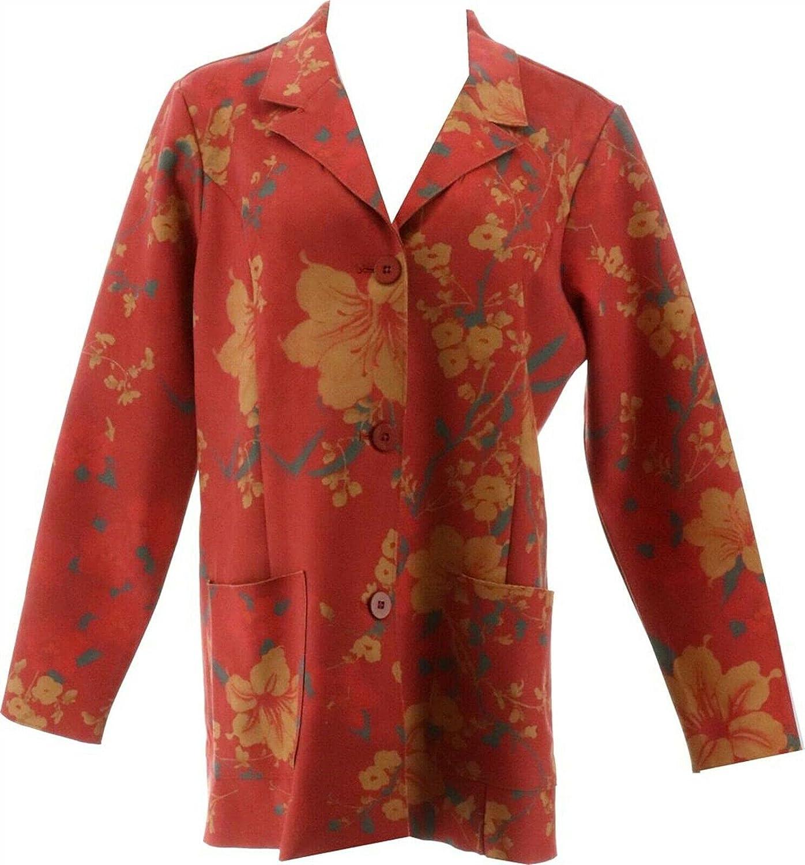 Denim & Co. Faux Suede Floral Print Jacket A342721, Winter Red, Large