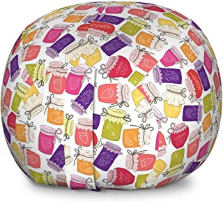 Lunarable Jam Storage Toy Bag Chair, Cartoon Colorful Repeating Pattern with Homemade Fruit Marmalade in Jars Print, Stuffed Animal Organizer Washable Bag for Kids, Large Size, Multicolor
