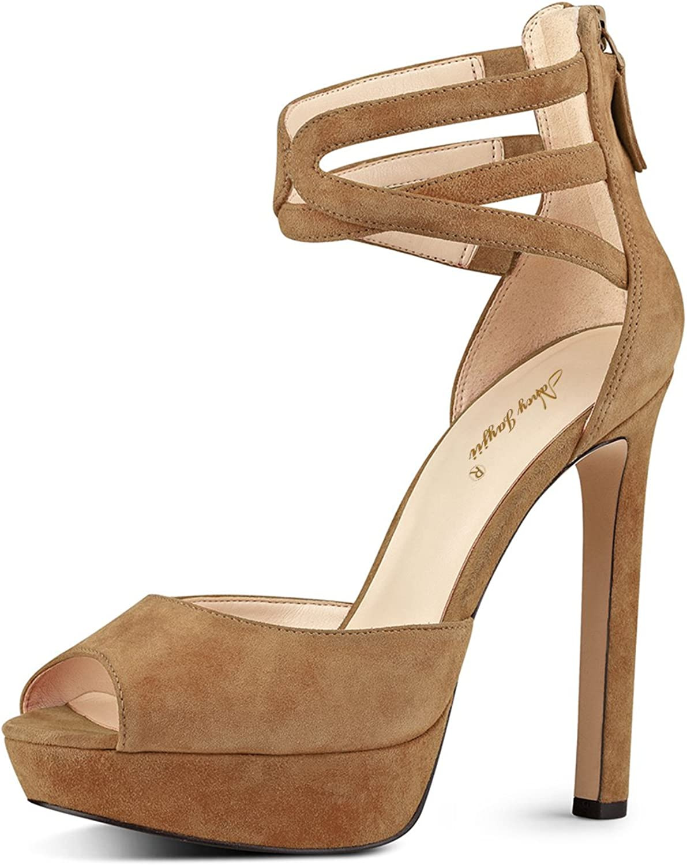 NJ Women Strappy Ankle Strap Sandals Peep Toe Platform Pumps High Heels Party Club shoes