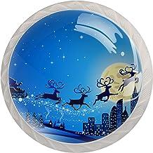 Kabinet lade knoppen Santa Slee Kerstmis Winter landschap trekt handgrepen voor keuken kast badkamer kast dressoir, 4 Pack