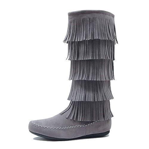 6de122f128 West Blvd Womens Lima Suede Fringe Moccasin Boots