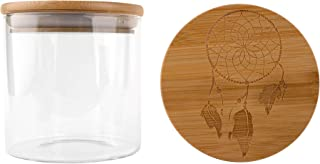 Hakuna Supply - Glass Storage Jars with Airtight Bamboo Lid, Multi-Use Containers for Herbs, Tea, Candy, Q-Tips, etc. for The Bedroom, Kitchen, and Bathroom (1 Oz, Dream Catcher)