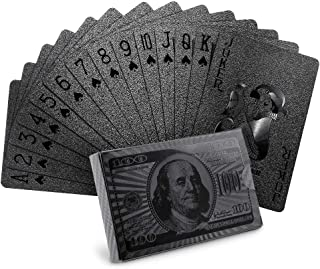 Joyoldelf Cool Black Playing Cards with Dollar Pattern, Waterproof Deck of Cards in Gift Box for Magic, Game and Party