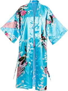 Asian Home Flower Peacock Satin Silk Kimono Robe, Dressing Gown, Bridal, Gift, One Size Fits Most