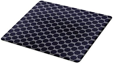 Navy Blue Diatom Mud Mat, Navy Inspired Sailor Knot Rope Pattern Illustration Nautical Abstract Design, Absorbent Diatomac...