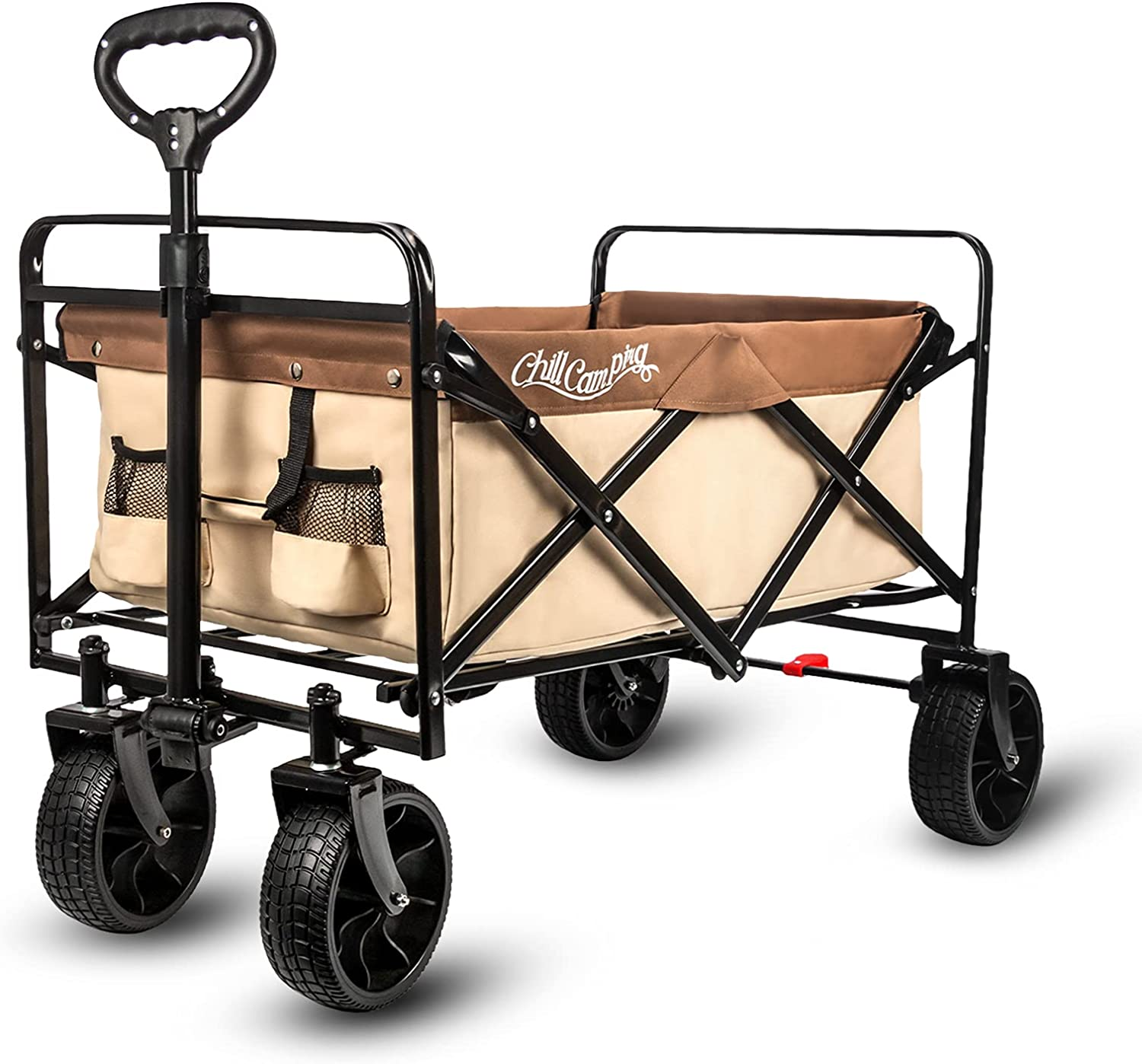 Beach Wagon Cart, Collapsible Folding Wagon with Big Rubber Wheels, Adjustable Handles and Brake, Heavy Duty Utility Wagon All Terrain Outdoor Camping Garden Grocery Wagon, Neutral : Patio, Lawn & Garden