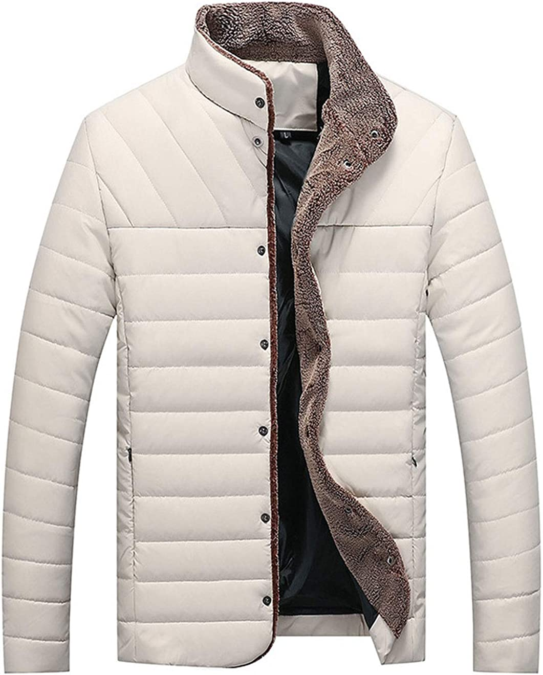 ebossy Men's Casual Stand Collar Button Up Faux Leather Lightweight Quilted Jacket