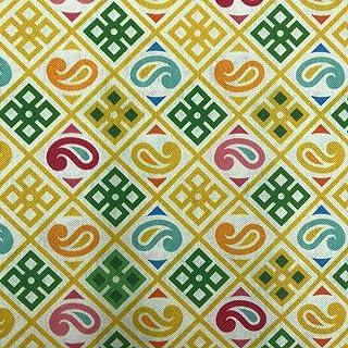 Kt KILOtela Stoff aus geharztem Segeltuch, fleckenabweisend, 100 % Baumwolle, 100 cm Länge x 140 cm Breite, geometrisch, Mosaik, Senf, Grün, 1 Meter