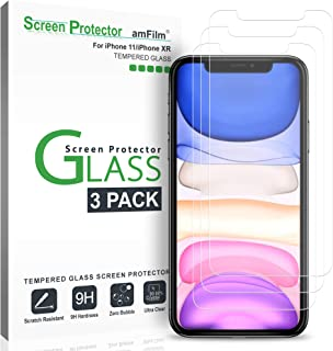 amFilm Screen Protector Glass for iPhone 11 and iPhone XR (3 Pack), Case Friendly Tempered Glass Screen Protector Film for Apple iPhone 11 and 10R (6.1 Inches)