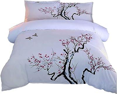羽毛掛け布団カバー花の木 2つの枕カバー付き3Dプリント寝具セットキルトケース子供ティーンマイクロファイバージッパークロージャー大人子供スーパーキング-260x220cm