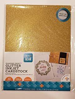 Pen+Gear Silver & Gold Glitter Cardstock Paper, 10 Sheets, Shed-Free, Printable in Inkjet & Home Printers, Photos - Invitations - More