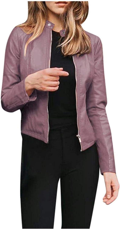 Women Lapel Motor Jacket Coat Cropped Punk Jacket Zipper Long Sleeve Faux Leather Outerwear
