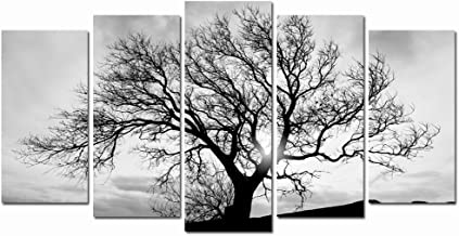 LevvArts - Black and White Tree Canvas Art,Great Sunset Shot Pictures Print on Canvas,Modern Home Decor,Large Size