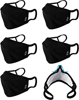 WITHMOONS 6PCS Cotton Cover Reusable Washable with Nose Bridge Wire EU0304 Black