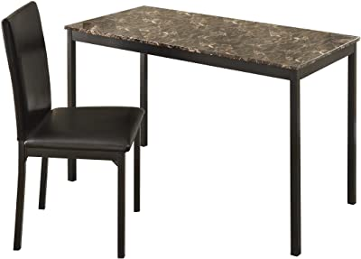 Homelegance Tempe Faux Marble Writing Desk with Chair, Brown