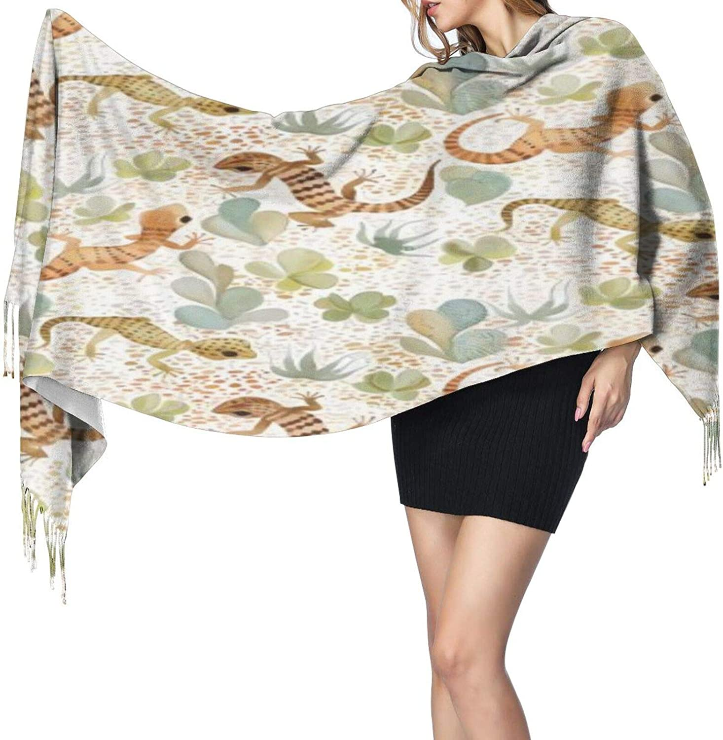 Cashmere fringed scarf Desert Lizard winter extra large scarf