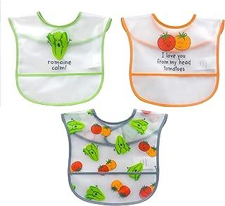 Koala Baby 3 Piece Water Resistant Peva 2 Layer Printed Translucent EZ Wipe Toddler Bib with Crumbcatcher, Green/Orange/Blue