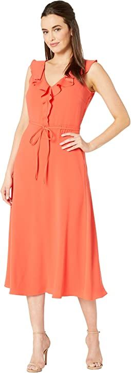 Crepe Back Satin V-Neck Midi Dress w/ Self Sash