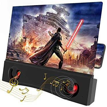 """LAIKETE 12"""" 3D Mobile Phone Screen Magnifier with Bluetooth Speakers, Anti-Blue Light Cell Phone Screen Amplifier Enlarger for Movie,Video and Gaming, Compatible All Smartphones"""