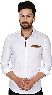 SKAVIJ Men's Casual Cotton Long Sleeve Dress Shirt Contrast Collar Slim Fit Button Down Shirt