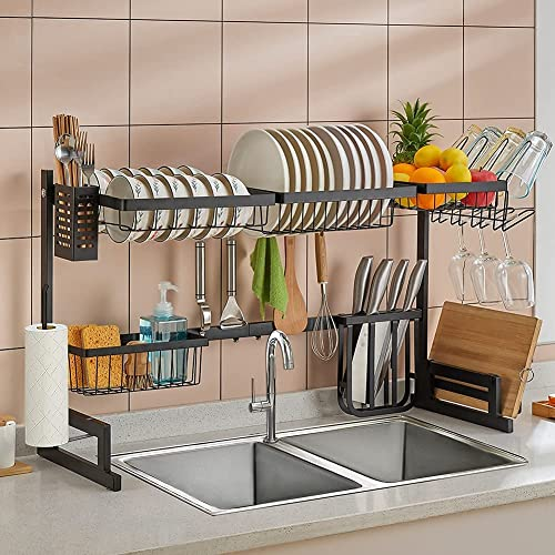 """lowest Over The Sink Dish Drying Rack Adjustable (32.6""""-37""""), outlet sale 2 Tier Large Capacity Stainless Steel Expandable Dish Drainer for Kitchen Organizer Storage Space Saver, All in One with popular 10 Functional Parts outlet online sale"""