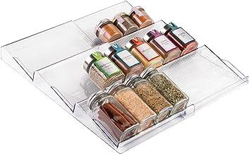 mDesign étagère à épices à 3 niveaux – range épices extensible en PVC pour le tiroir de cuisine – rangement de tiroir pour épices, condiments, aromates, etc. – transparent