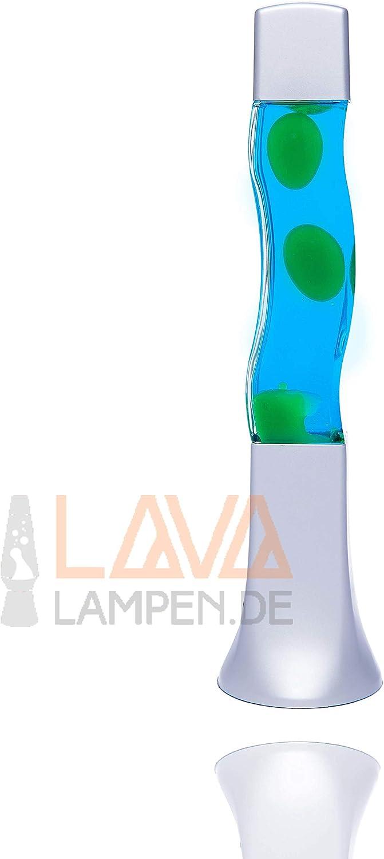Lavalampe 41cm Magmalampe Lavaleuchte Lavalampe Orange Lavalampe E14 25W mit Kabelschalter Geschenkidee Weihnachten inklusive Leuchtmittel Retro Leuchte Grün, Blau, Silber